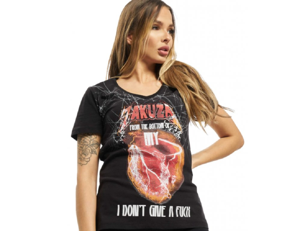 Dámské triko Yakuza My Heart V-Neck GSB 16120 schwarz