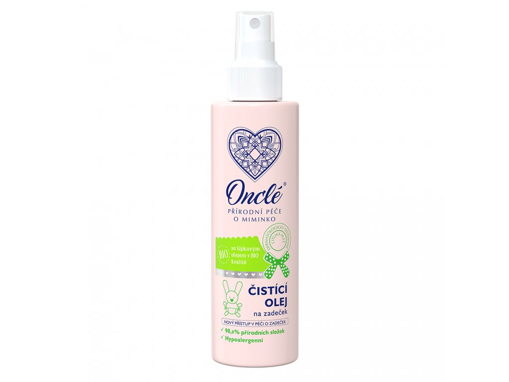 1042 Onclé dětský čistící olej na zadeček 200ml front M