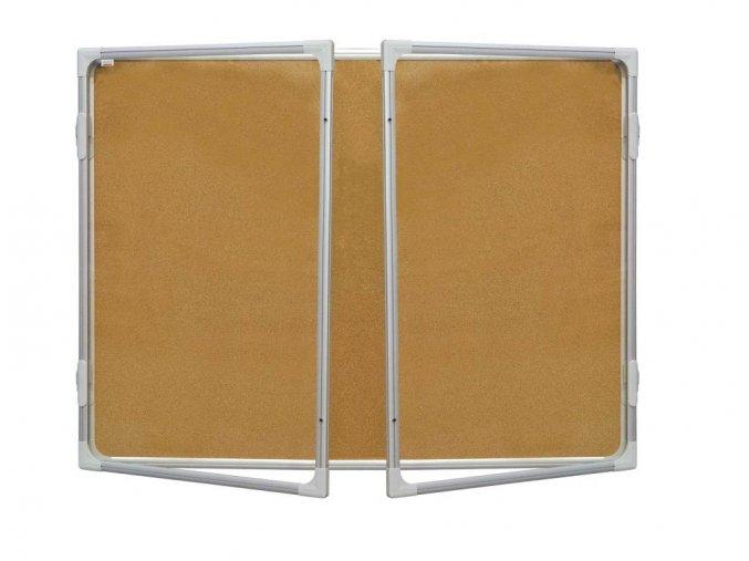 Korková vitrína s dvoukřídlým vertikálním otevíráním 120x180cm, model 2