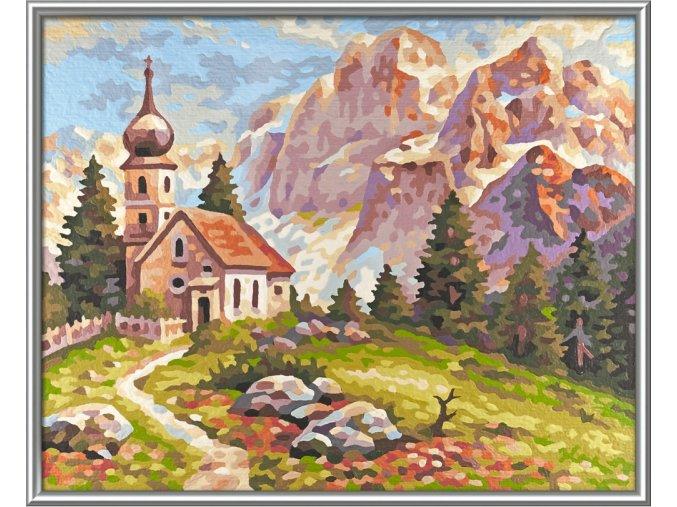 765 kostelik v dolomitech 24 x 30 cm