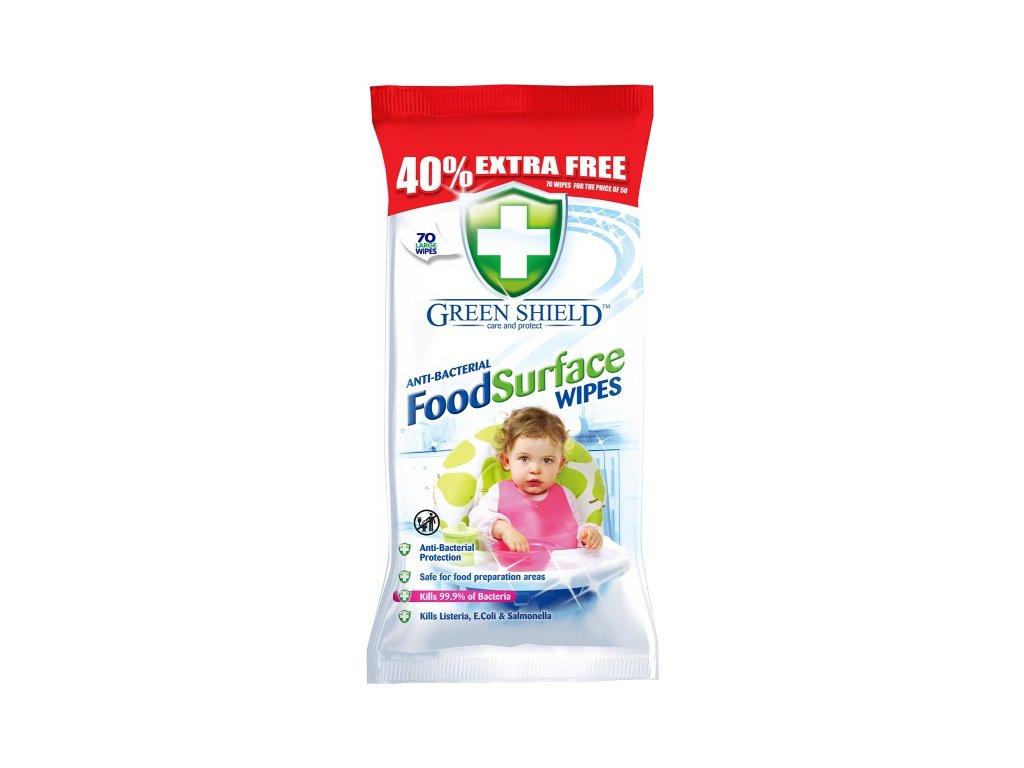 Green Shield Food Surface 70ks Antibakteriální vlhčené ubrousky pro domácnost 5060110227167