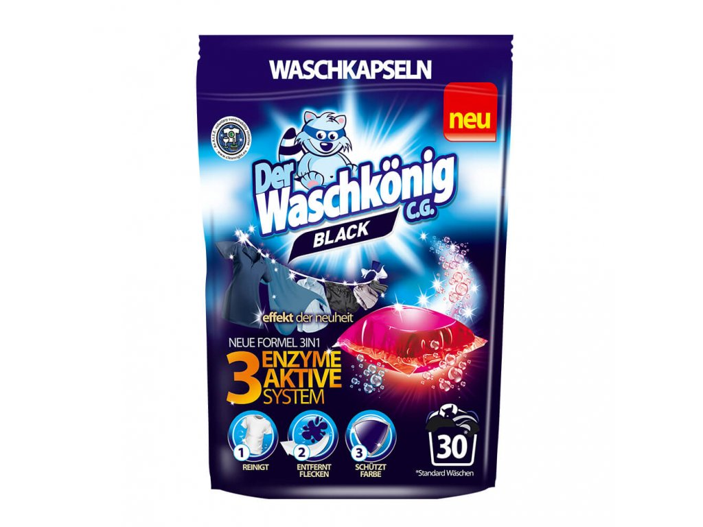 WaschKönig kapsle na praní 30 ks 3v1 Black