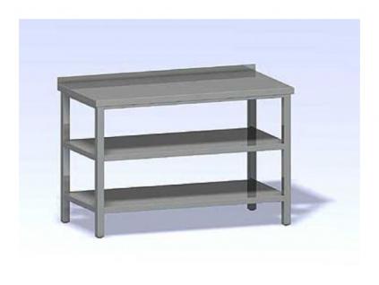 Nerezový stůl s dvěma policemi SPP-1600x800