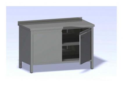 Nerezový stůl opláštěný s dvířky 1000x700