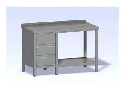 Nerezový stůl se zásuvkovým blokem a policí 1000x600
