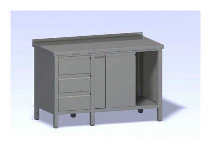 Nerezový stůl se zásuvkovým blokem a dvířky  1500x800