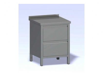 Nerezový stůl dvě zásuvky box 600x800