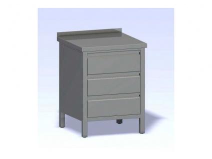Nerezový stůl zásuvkový box 800x800