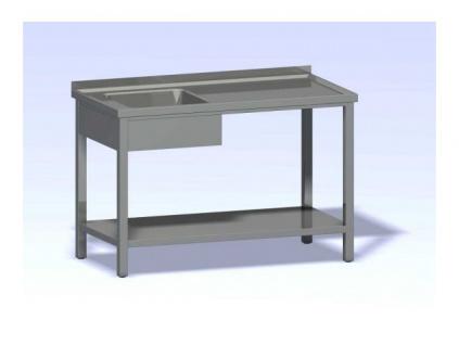 Nerezový mycí stůl jednodřez s policí SMDP-1300x700(400x400x250)