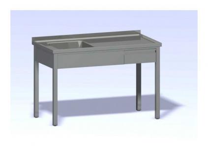 Nerezový mycí stůl jednodřez se zásuvkou SMDZ-1200x700(500x500x300)