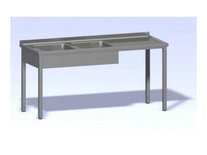 Nerezový mycí stůl dvoudřez SMDV-1400x700(400x400x250)