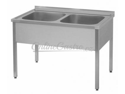 Stůl mycí dvoudřez 120x60, nádoby 50x40x25 cm