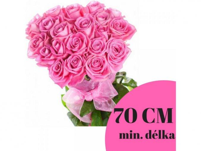 Kytice růžových růží 70 cm