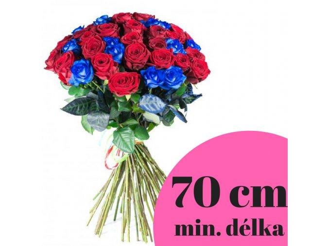 Kombinace rudých a modrých růží 70 cm