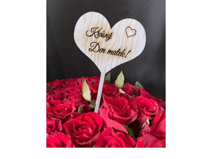 "Dřevěné srdce ""Krásný den matek"""