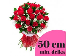 Velká kytice rudých růží 50 cm