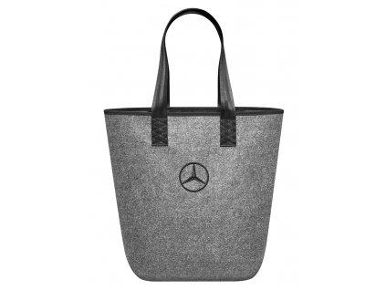 Shopping bag mercedes grey polyester pockets snap hook b66952989