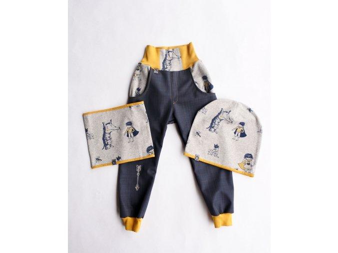 softsheelové jarní kalhoty Vlk superhrdina