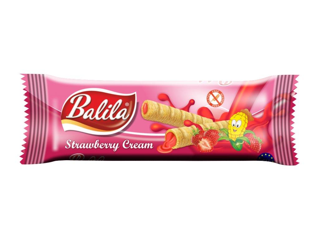 BALILA kukuřičná trub.s krémem s příchutí jahoda 18g