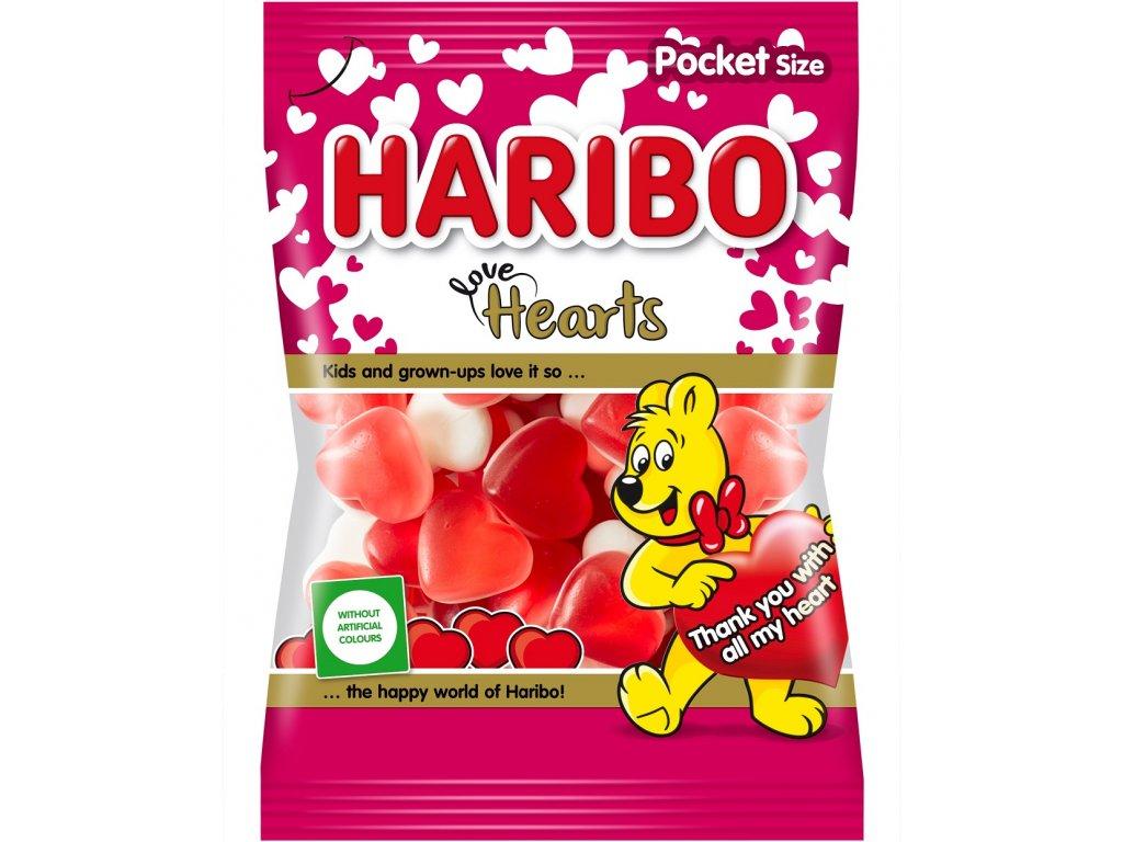 Haribo Hearts želé cukrovinky s ovocnou příchutí s pěnovým cukrem 100g