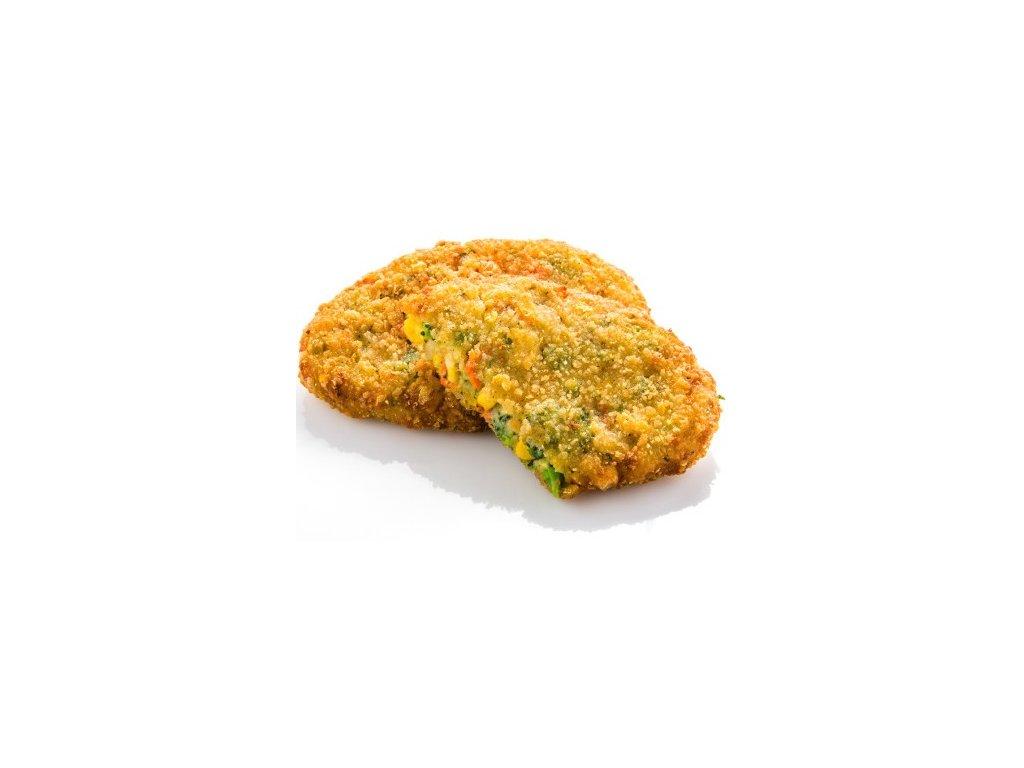 Zeleninový rakouský řízek 80 g v křupavé panádě, předsmažený.Cena za kilogram.