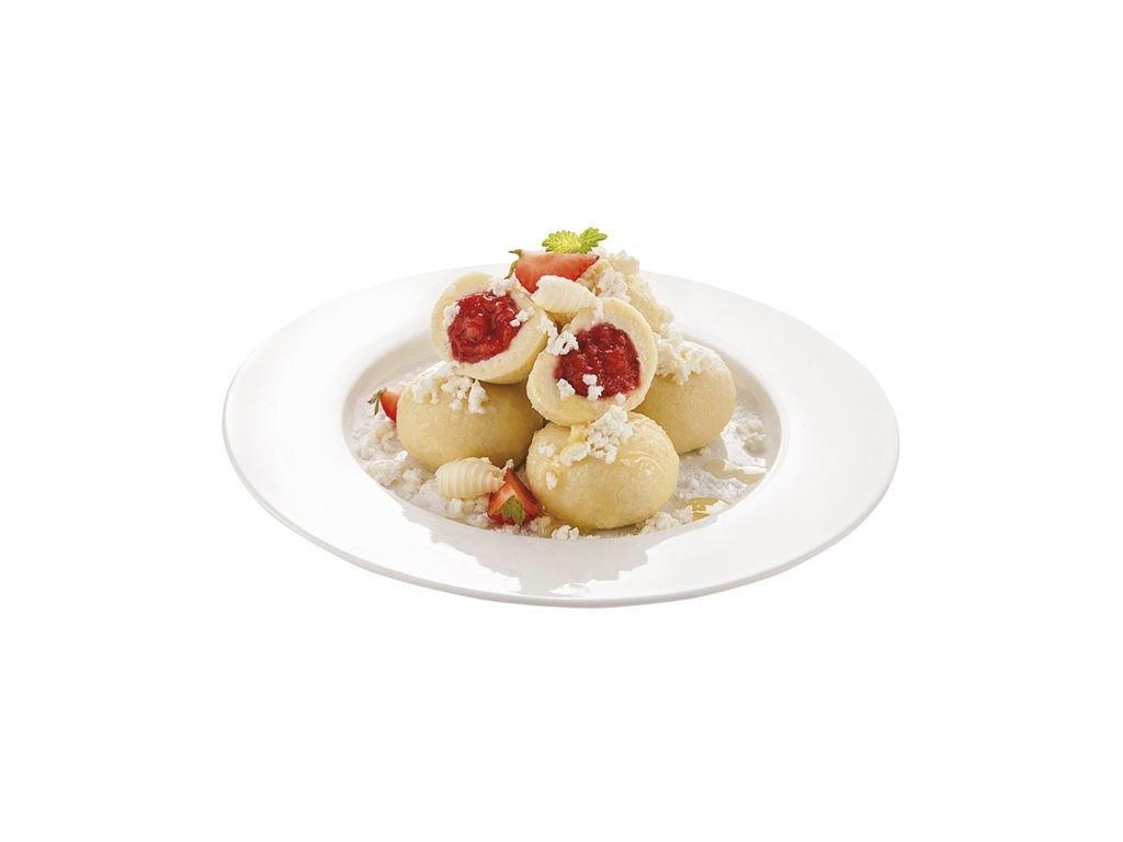 Tvarohové knedlíky s kousky jahod 50 g.Cena za kilogram.