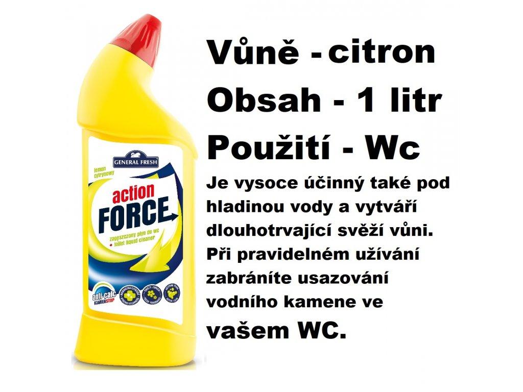 FORCE ČISTÍCÍ GEL NA WC - CITRÓNOVÁ VŮNĚ 1 L