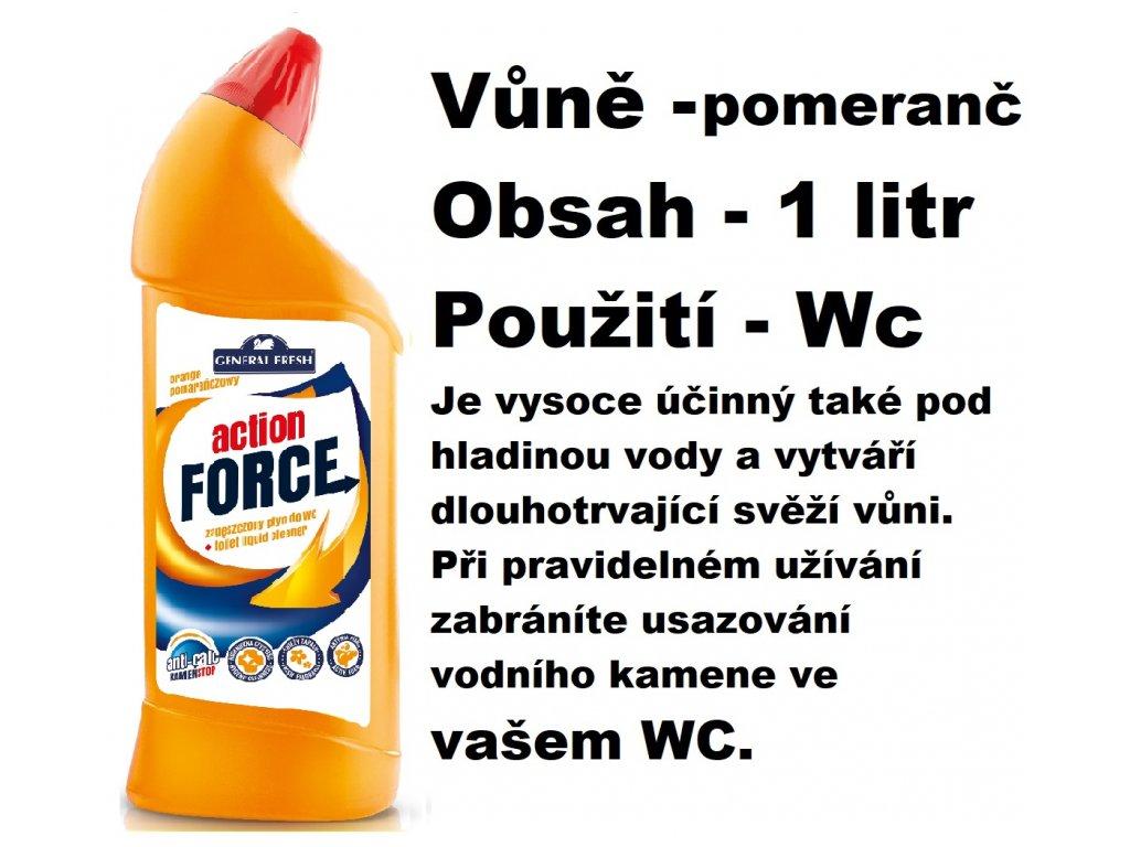 FORCE ČISTÍCÍ GEL NA WC - VŮNĚ POMERANČE 1 L