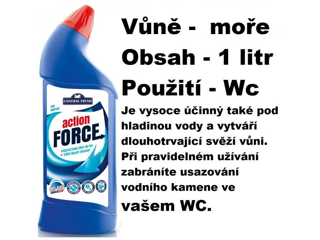FORCE ČISTÍCÍ GEL NA WC - VŮNĚ MOŘE 1 L