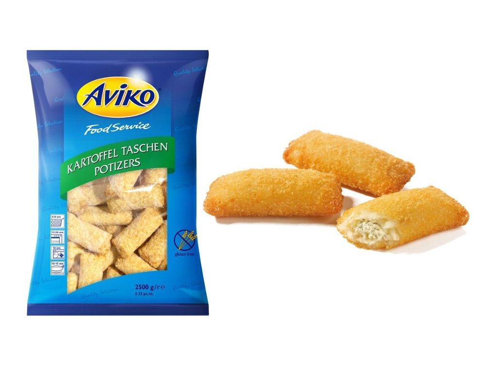 Aviko taštičky se sýrem balení 2,5 kg.Cena 160 Kč Kg