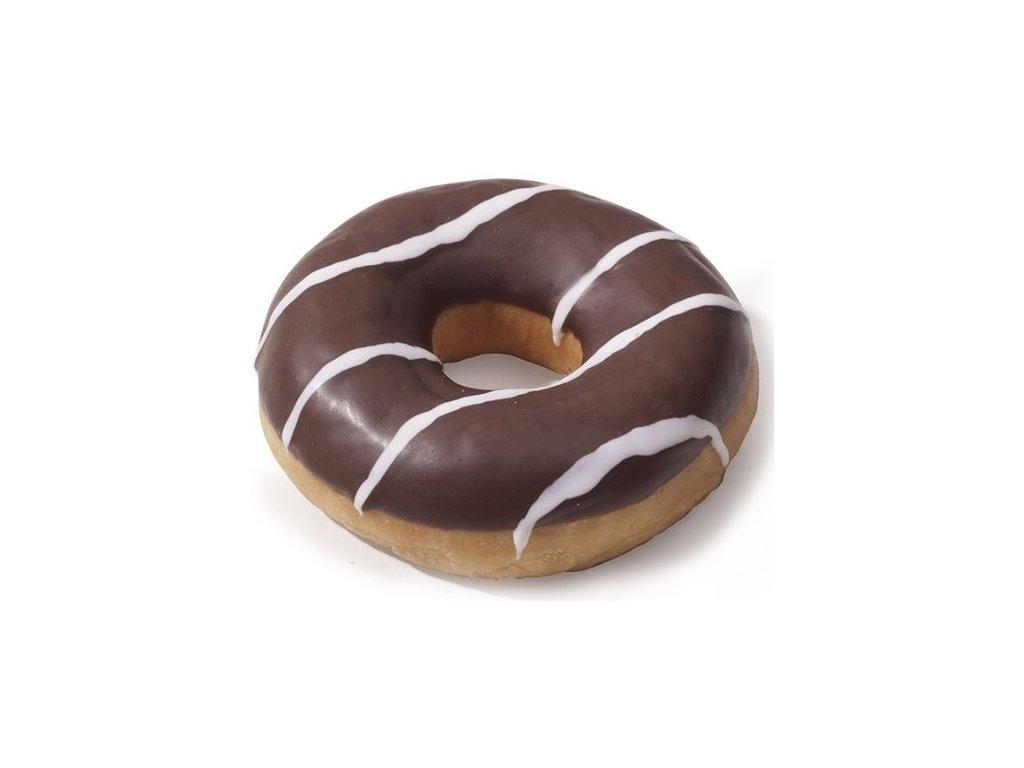 Donut s náplní s vanilkovou příchutí a tmavou polevou 71 g  balení 48 ks.