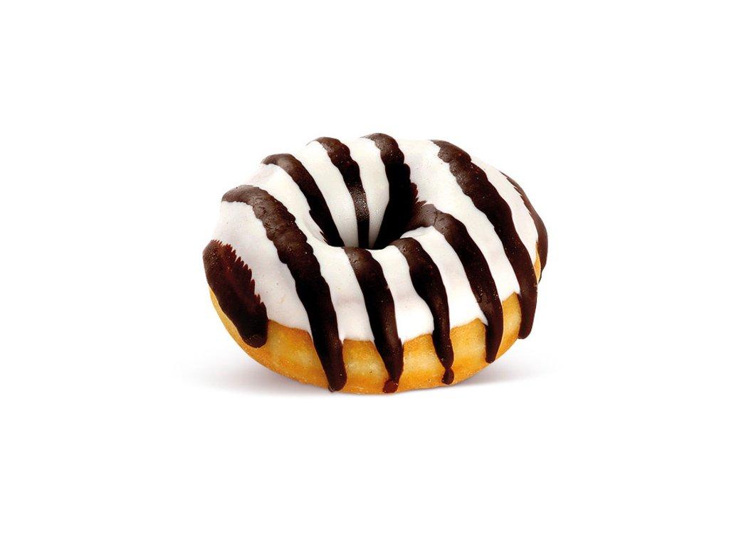 Donut bílý s hnědými proužky mini  20 g balení 120 kusů.