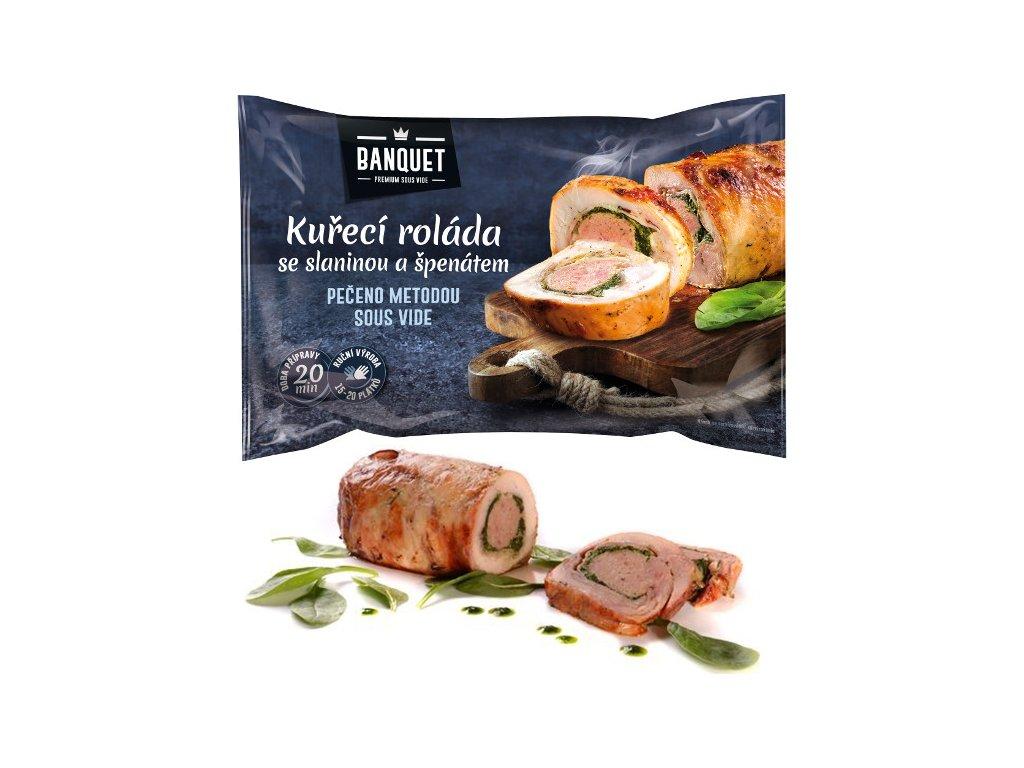 Kuřecí roláda se slaninou a špenátem sous-vide 1,2 kg