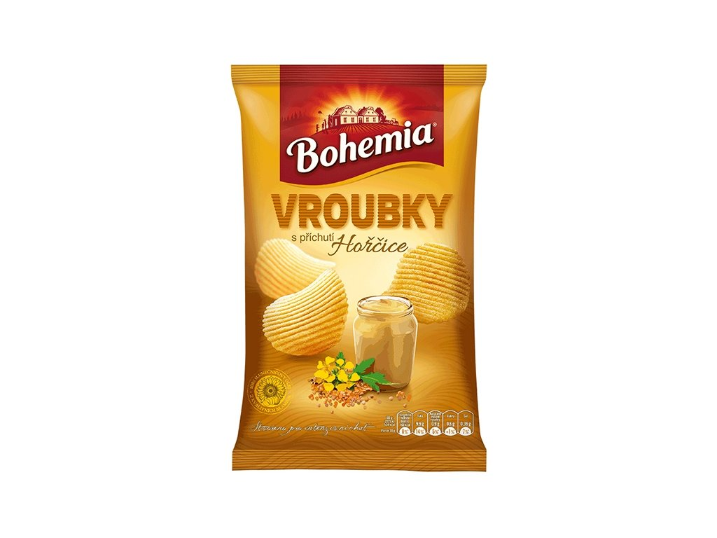 BOHEMIA Chips Vroubky 65g Hořčice