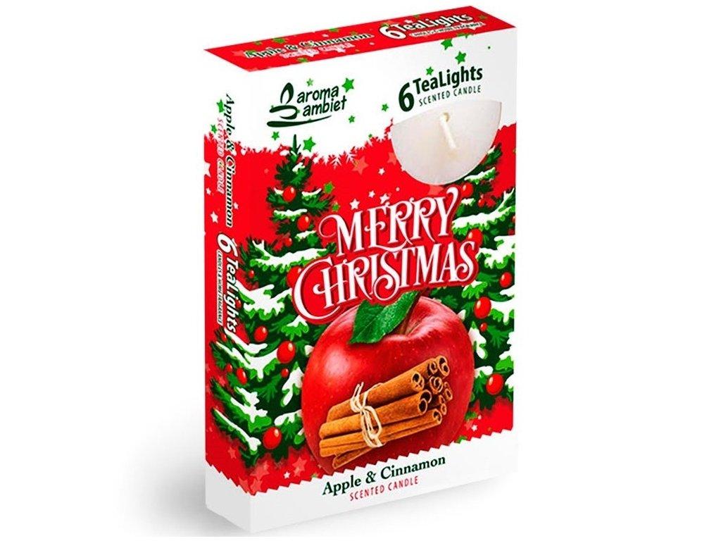 SANTO Čajové Svíčky 6ks Merry Christmas - Apple&Cinnamon