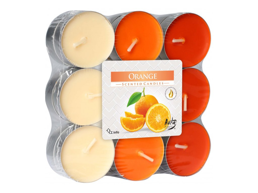BISPOL P15 Čajové vonné svíčky 18ks Pomeranč