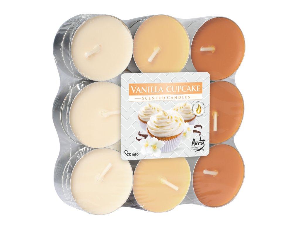 BISPOL P15 Čajové vonné svíčky 18ks Vanilkové Cupcake
