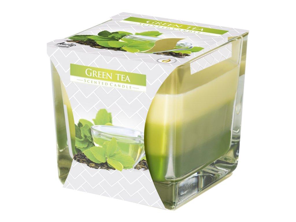 BISPOL SNK80 Tříbarevná svíčka ve skle Zelený čaj