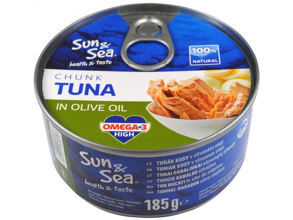 Tuňák kousky v olivovém oleji 185g SUN&SEA