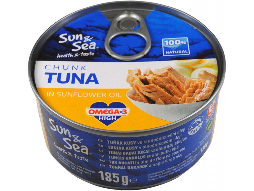 Tuňák kousky ve slunečnicovém oleji 185g SUN&SEA