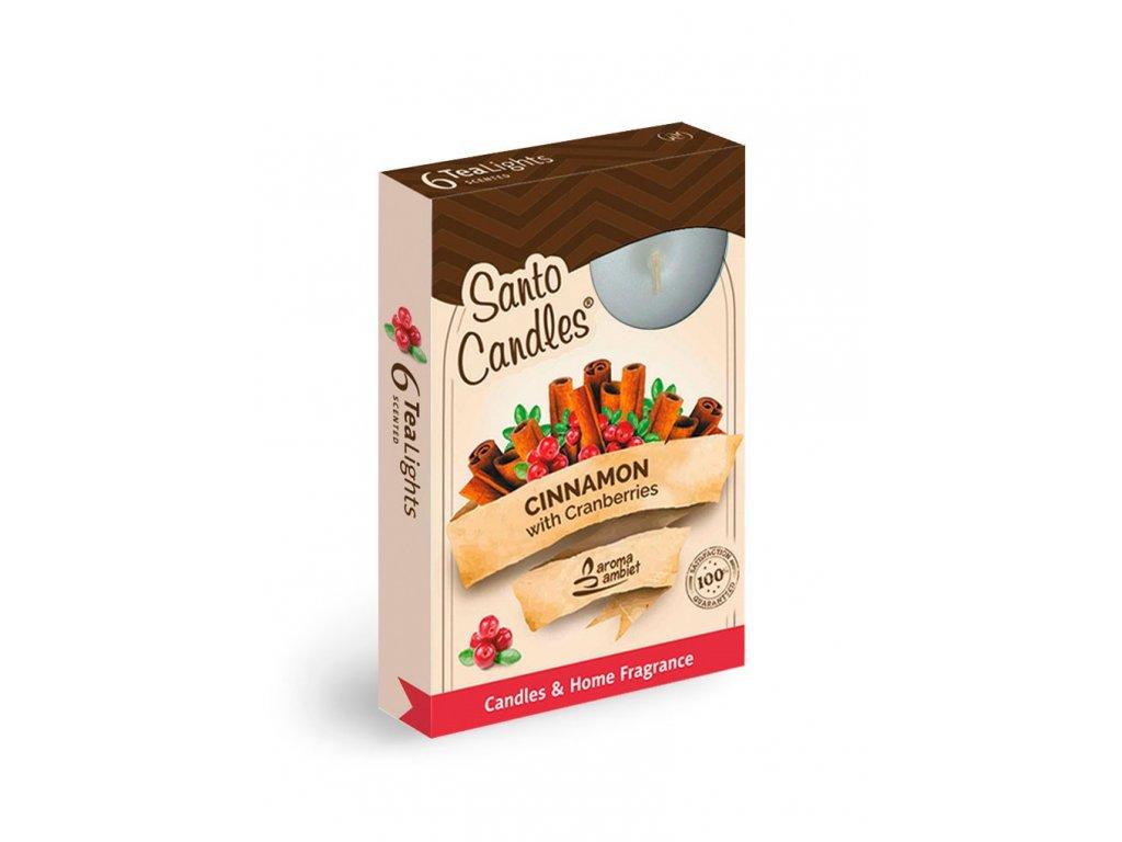 SANTO Čajový Svíčky 6ks Merry Christmas - Cinnamon&Cranberries