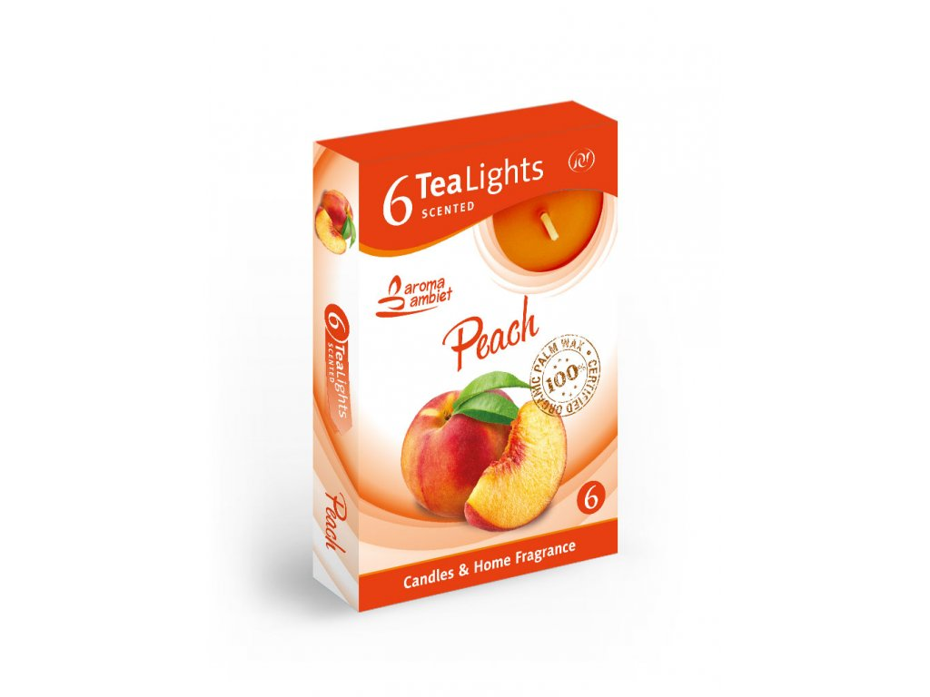 SANTO Čajový Svíčky 6ks Peach