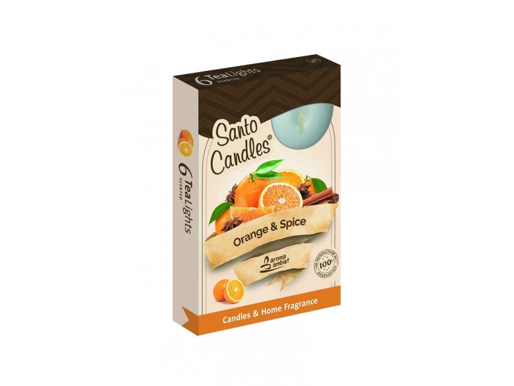 SANTO Čajový Svíčky 6ks Orange & Spice