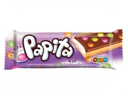 Papita 33g sušenka s mléčnou náplní a lentilkami.