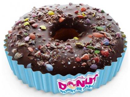Hnědý donut s drcenými bonbonky 58 g balení 48 ks.