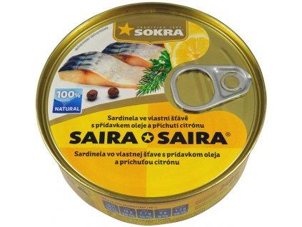 Sardinela ve vlastní šťávě s příd. oleje a s příchutí citronu 240g
