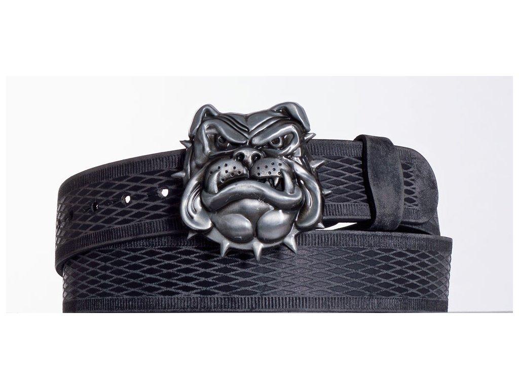 Kožený pásek černý buldog vrb
