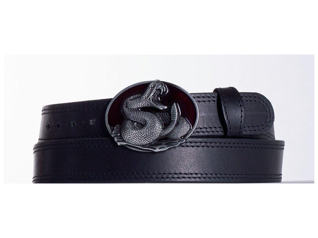 Kožený pásek černý kobra ob2č