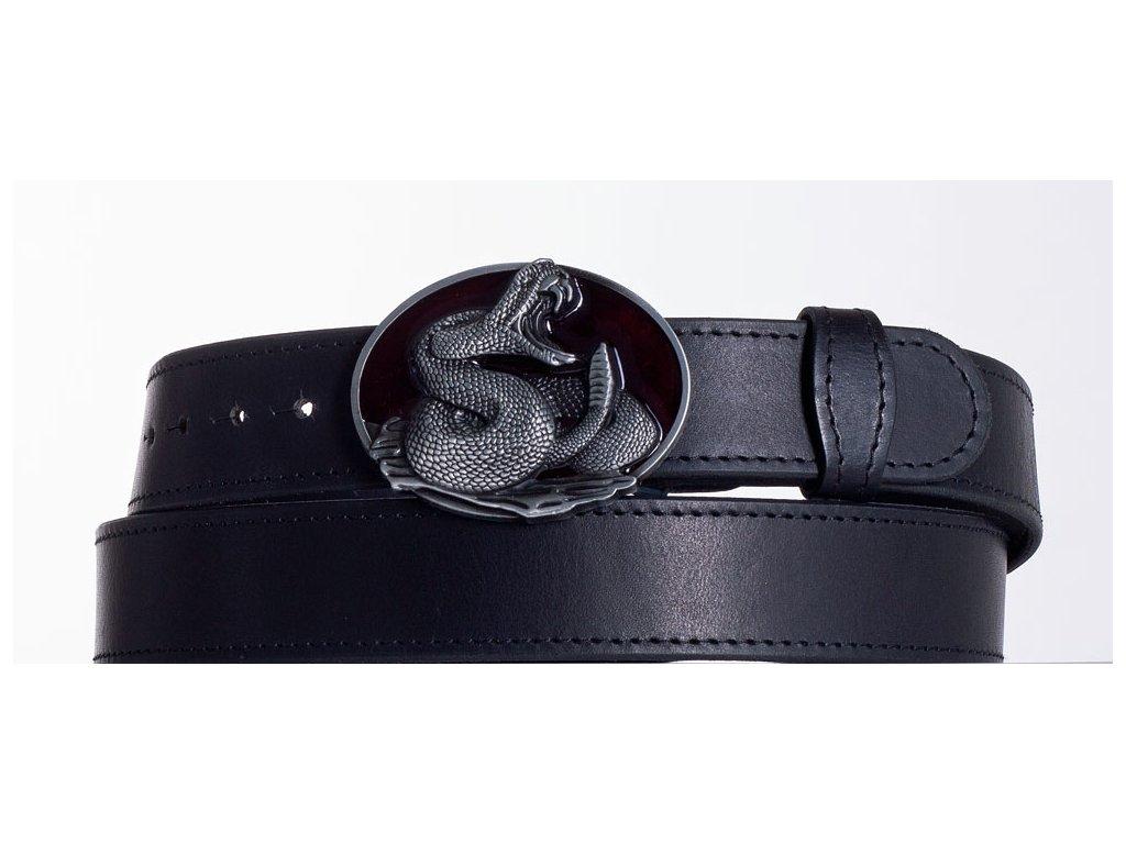 Kožený pásek černý kobra obč