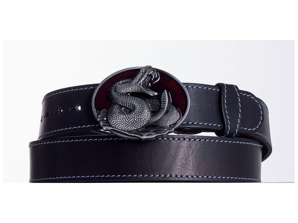Kožený pásek černý kobra obš